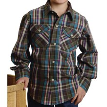 Roper Amarillo Plaid Shirt - Snap Front, Long Sleeve (For Boys) in Purple - Closeouts