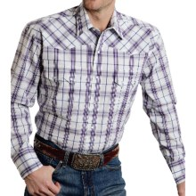 Roper Amarillo Plaid Shirt - Snap Front, Long Sleeve (For Men and Big Men) in Blue Berry, Wild Iris - Closeouts
