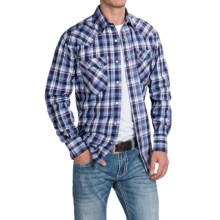 Roper Amarillo Plaid Shirt - Snap Front, Long Sleeve (For Men and Big Men) in Blue/Brown, Purple Sapphire - Closeouts