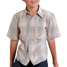 Roper Amarillo Plaid Shirt - Snap Front, Short Sleeve (For Boys) in Orange - Closeouts