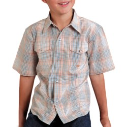 Roper Amarillo Plaid Shirt - Snap Front, Short Sleeve (For Boys) in Orange