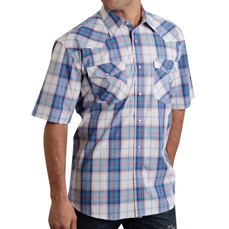 Roper Amarillo Plaid Western Shirt Snap Front Short Sleeve For Men and Big Men