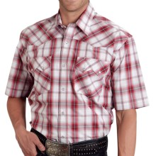 Roper Amarillo Plaid Western Shirt - Snap Front, Short Sleeve (For Men and Big Men) in Sand Stone, Red Rock - Closeouts