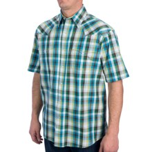 Roper Amarillo Sunset Check Shirt - Snap Front, Short Sleeve (For Men) in Green - Closeouts