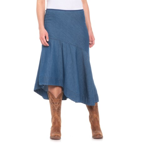 Roper Asymmetrical Denim Skirt (For Women) in Stone Washed