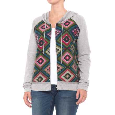 Roper Aztec Print French Terry Hoodie (For Women) in Grey - Closeouts