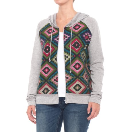 Roper Aztec Print French Terry Hoodie (For Women) in Grey