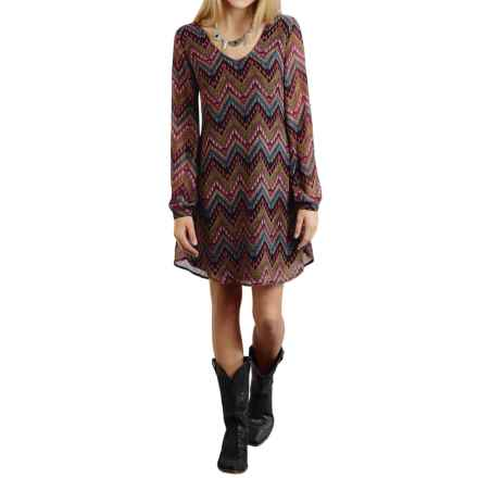 Roper Aztec-Print Georgette Dress - Long Sleeve (For Women) in Black - Overstock