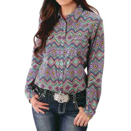 Roper Aztec Retro Western Shirt - Snap Front, Long Sleeve (For Women) in Blue Multi - Closeouts