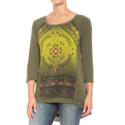 Roper Aztec Sublimation Print Shirt - 3/4 Sleeve (For Women) in Olive - Closeouts