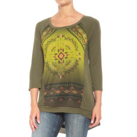 Roper Aztec Sublimation Print Shirt - 3/4 Sleeve (For Women) in Olive