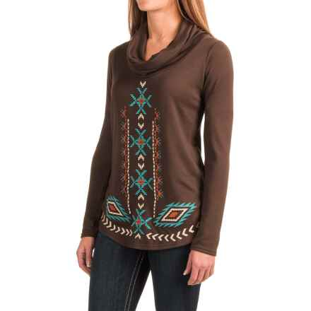 Roper Aztec Sweater-Knit Shirt - Cowl Neck, Long Sleeve (For Women) in Brown - Closeouts