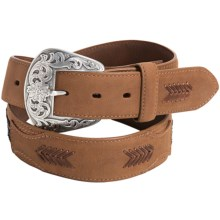 Roper Beaded Leather Belt (For Men) in Brown - Closeouts