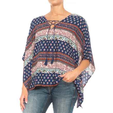 Roper Border Print Poncho Shirt - Short Sleeve (For Women) in Blue - Closeouts