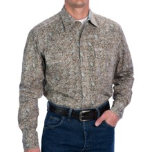 Roper Borrowed Paisley Shirt - Snap Front, Long Sleeve (For Tall Men) in Blue - Closeouts