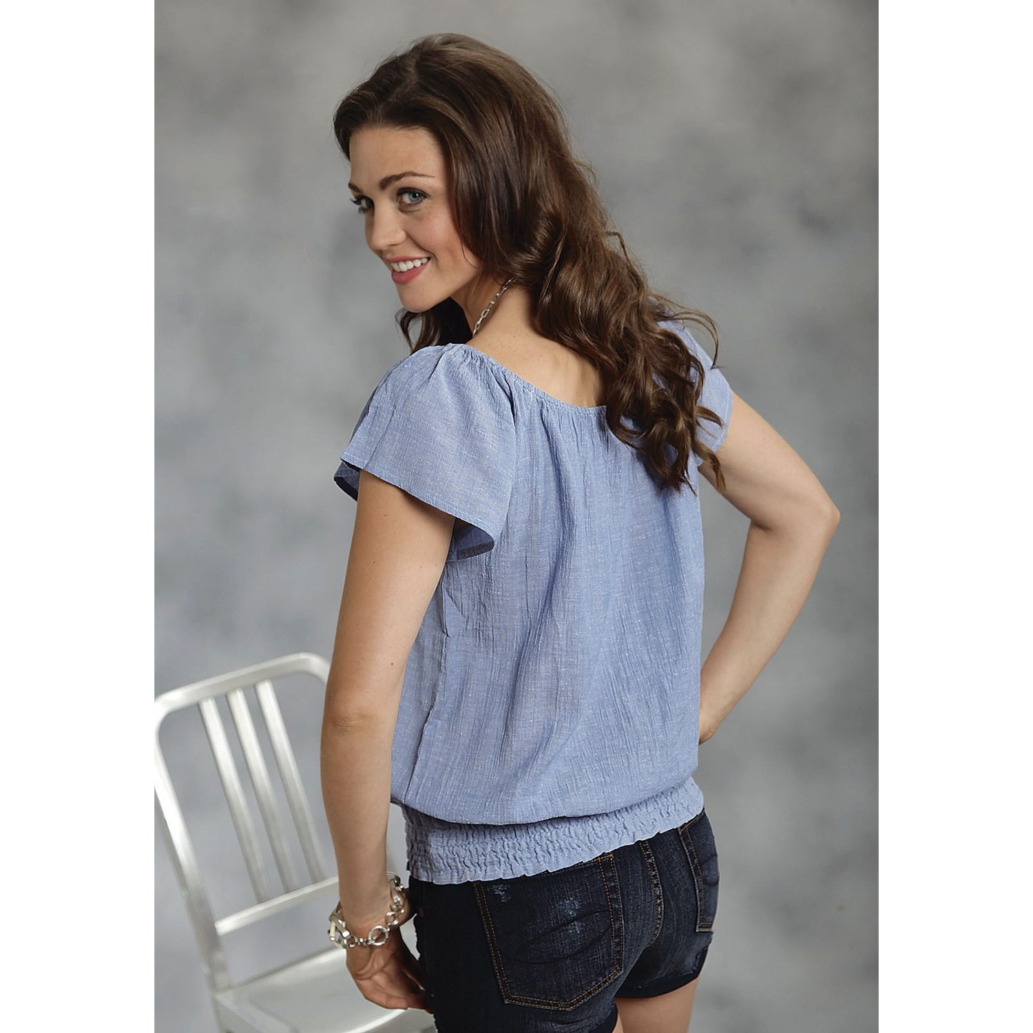 Roper breezy blue chambray peasant shirt for women 7099p for Short sleeve chambray shirt women