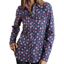 Roper Bright Floral Medallion Shirt - Snap Front, Long Sleeve (For Women) in Blue - Closeouts