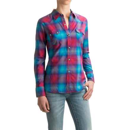 Roper Bright Ombre Plaid Shirt - Snap Front, Long Sleeve (For Women) in Blue - Closeouts