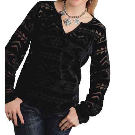 Roper Burnout Velvet Peasant Top - Long Sleeve (For Women) in Black - Closeouts