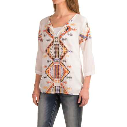 Roper Challis Embroidered Shirt - 3/4 Sleeve (For Women) in White - Closeouts