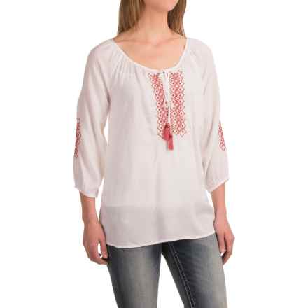 Roper Challis Geometric Embroidered Peasant Blouse - 3/4 Sleeve (For Women) in White - Closeouts