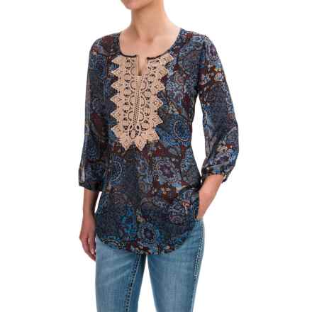 Roper Challis Paisley Chiffon Blouse - Semi Sheer, Long Sleeve (For Women) in Blue - Closeouts