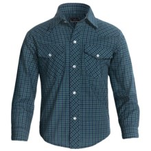 Roper Check Shirt - Snap Front, Long Sleeve (For Boys) in Aqua/Teal - Closeouts