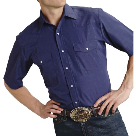 Roper Classic Horseshoes Shirt - Snap Front, Short Sleeve (For Men) in Navy Horseheads