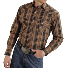 Roper Classic Metallic Plaid Shirt - Snap Front, Long Sleeve (For Men and Big Men) in Brown - Closeouts