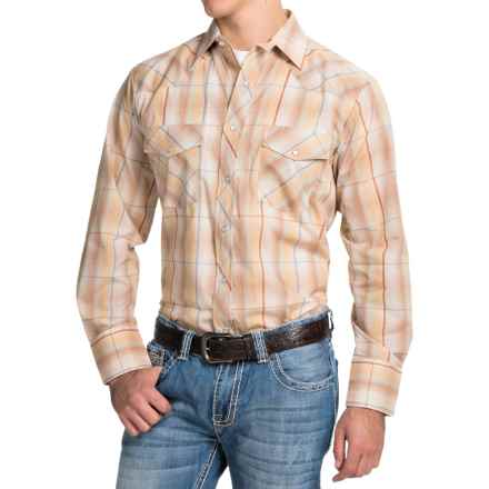Roper Classic Metallic Plaid Shirt - Snap Front, Long Sleeve (For Men and Big Men) in Earth Tone - Closeouts