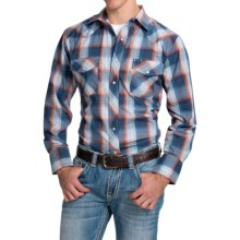 Roper Classic Metallic Plaid Shirt - Snap Front, Long Sleeve (For Men and Big Men) in Navy/Blue - Closeouts