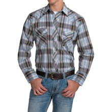 Roper Classic Metallic Plaid Shirt - Snap Front, Long Sleeve (For Men and Big Men) in Sky/Navy - Closeouts