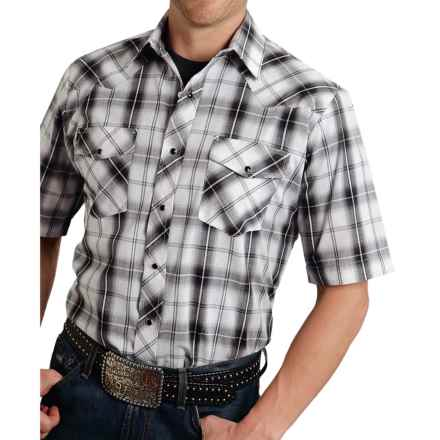 Roper Classic Metallic Plaid Western Shirt - Snap Front, Short Sleeve (For Men) in Black Dark Night - Closeouts