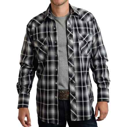 Roper Classic Plaid Shirt - Snap Front, Long Sleeve (For Men and Big Men) in Blue/Black Plaid - Closeouts
