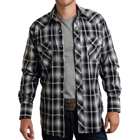 Roper Classic Plaid Shirt - Snap Front, Long Sleeve (For Men and Big Men) in Blue/Black Plaid