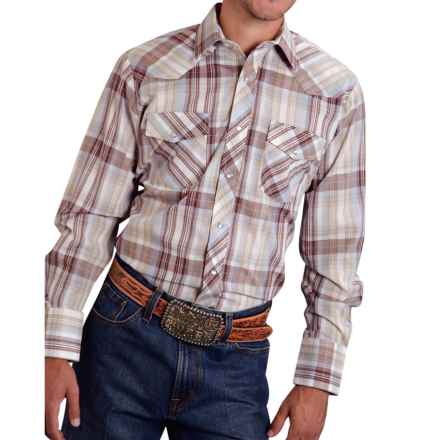 Roper Classic Plaid Shirt - Snap Front, Long Sleeve (For Men and Big Men) in Blue/Mocha - Closeouts