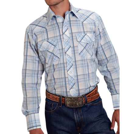 Roper Classic Plaid Shirt - Snap Front, Long Sleeve (For Men and Big Men) in Blue Multi Grid - Closeouts
