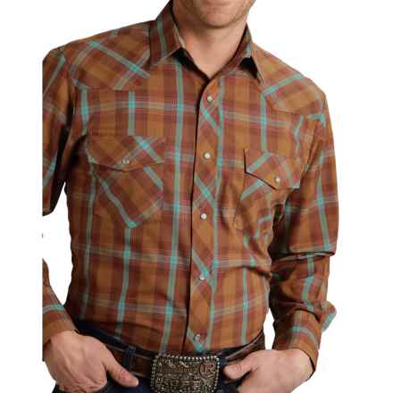 Roper Classic Plaid Shirt - Snap Front, Long Sleeve (For Men and Big Men) in Brown/Turquoise Plaid - Closeouts