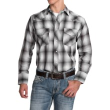 Roper Classic Plaid Shirt - Snap Front, Long Sleeve (For Men and Big Men) in Grey/White Tonal - Closeouts
