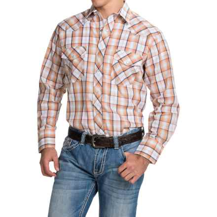 Roper Classic Plaid Shirt - Snap Front, Long Sleeve (For Men and Big Men) in Orange/Navy - Closeouts