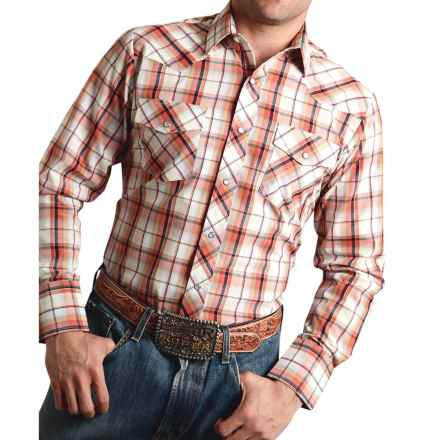 Roper Classic Plaid Shirt - Snap Front, Long Sleeve (For Men and Big Men) in Orange - Closeouts