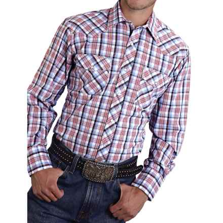 Roper Classic Plaid Shirt - Snap Front, Long Sleeve (For Men and Big Men) in Red/White/Blue - Closeouts