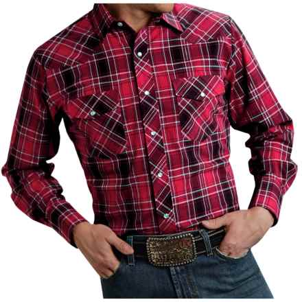 Roper Classic Plaid Shirt - Snap Front, Long Sleeve (For Men and Big Men) in Red - Closeouts