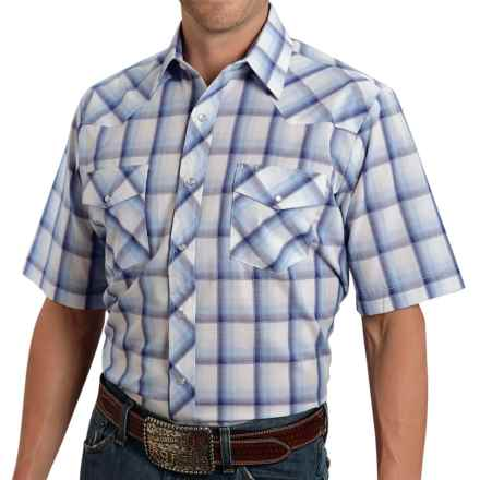 Roper Classic Plaid Shirt - Snap Front, Short Sleeve (For Men) in Blue/White - Closeouts