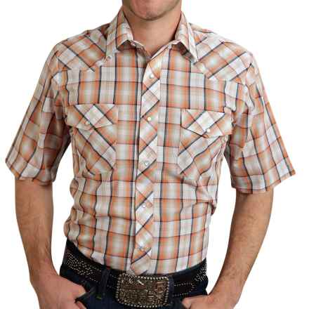 Roper Classic Plaid Shirt - Snap Front, Short Sleeve (For Men) in Orange/Navy - Closeouts