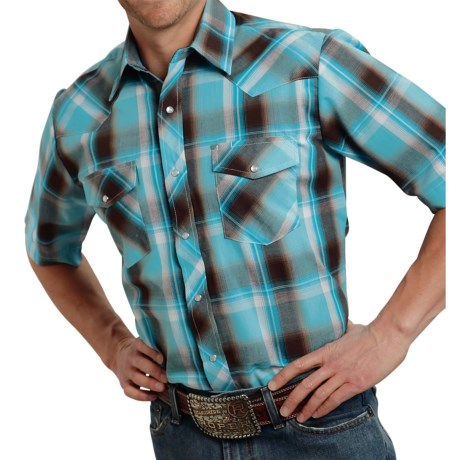 Roper Classic Plaid Shirt - Snap Front, Short Sleeve (For Men) in Turquoise/Chocolate