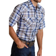 Roper Classic Plaid Snap Front Shirt - Short Sleeve (For Men) in Royal/Orange W/Lurex - Closeouts