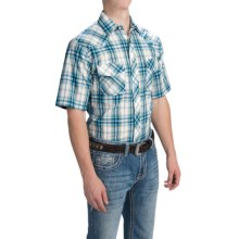 Roper Classic Plaid Snap Front Shirt - Short Sleeve (For Men) in Tan/Turquoise W/Lurex - Closeouts