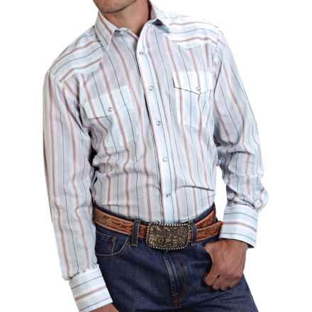 Roper Classic Striped Shirt - Snap Front, Long Sleeve (For Men and Big Men) in Light Blue/Brown - Closeouts