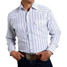 Roper Classic Striped Shirt - Snap Front, Long Sleeve (For Men and Big Men) in White - Closeouts